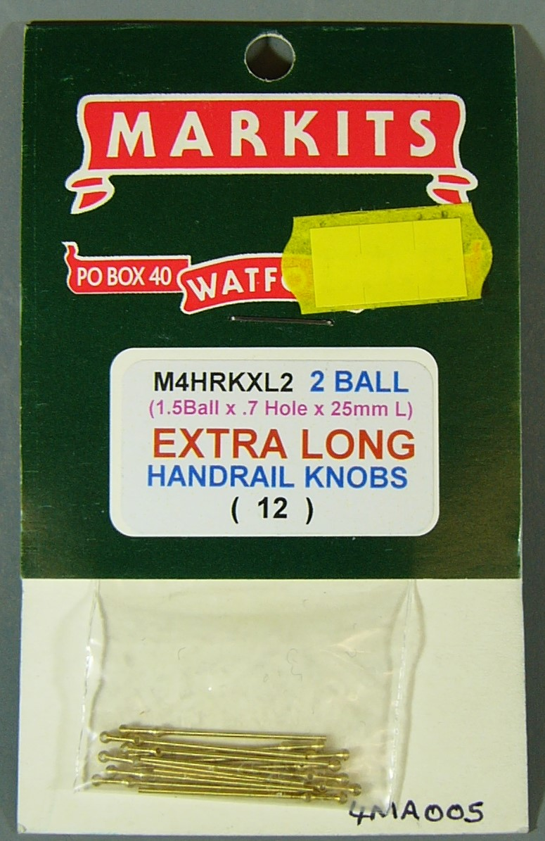 7MA005 Extra Long Handrail Knobs 7mm scale (2 ball)(12)