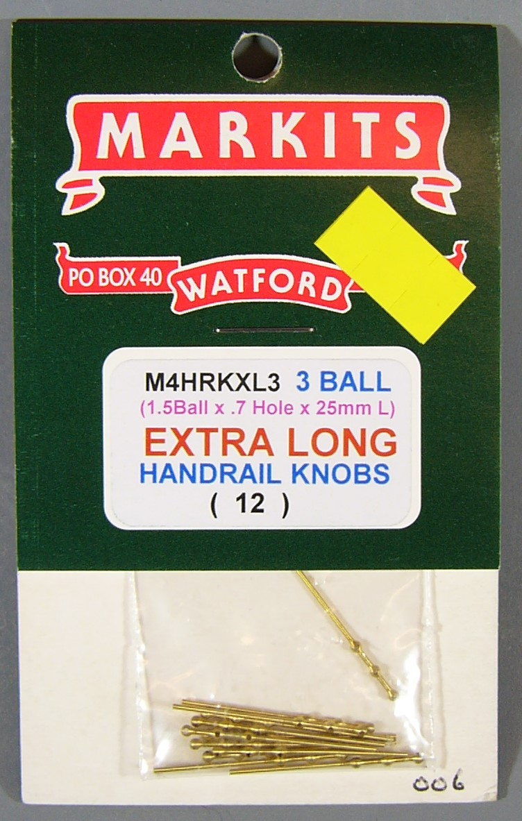 7MA006 Extra Long Handrail Knobs 7mm scale (3 balls)(12)